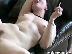 Hot brunette getting eaten out while smoking Amateur Videos