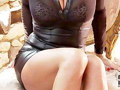 Sensual Jane Black leather tease