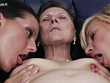 Grandma fucked by two lesbians cunts