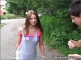 Tattooed girl fucked in a park