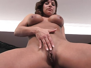 Horny milf with big boobs masturbates with huge dildo