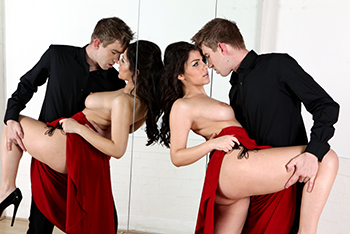 Sex dance with brunette