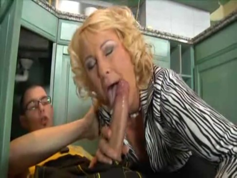 Blond granny cougar fucked by young plumber