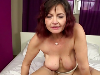 Real mature mom takes young cock into hairy vagina