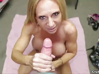 Naughty milf jerks her step-son's dick