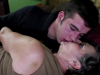Dirty old granny fucks young boy