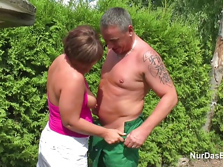Mother seduce German Young Boy to Fuck her in Garden