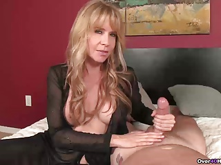 Naughty milf with big tits handjob