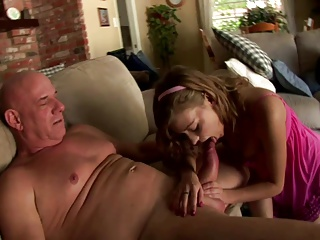 Beautiful girl makes a video fucking with old man