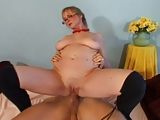 Hot granny teaches young stud how to fuck