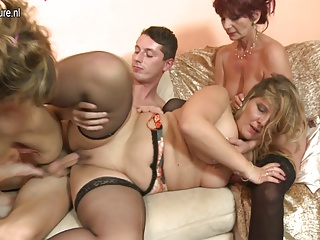 Lucky boy fucks 3 mature mothers