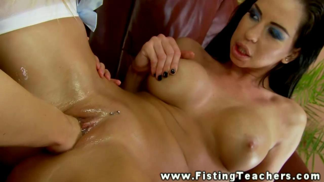 Pierced brunette lesbian wants to be fisted hard