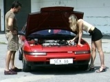 Flat-chested slut fucked in the parking lot