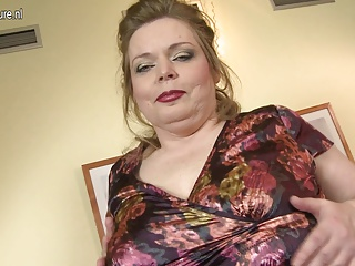 Big breasted mature mom playing with her shaved pussy