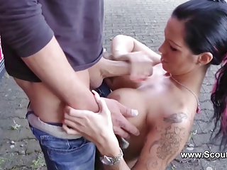German Teen Pornstar Lea4You fuck with outdoor with older me