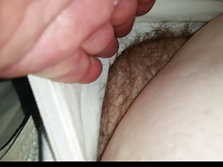 un button the wifes pants slide my hand in,warm hairy pussy