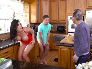 Reagan Foxx cheats on her husband with his son in the kitchen