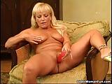 Hot mature woman with curvy body masturbates