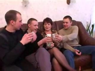 Mother and boyfriend drunks and fucks with friends after the party