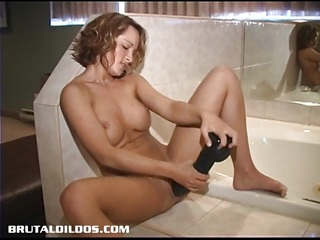 Tight and busty amateur loving two thick brutal dildos