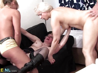 Three mature sluts sharing a young guy