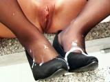Hot secretary get jizz on her heels