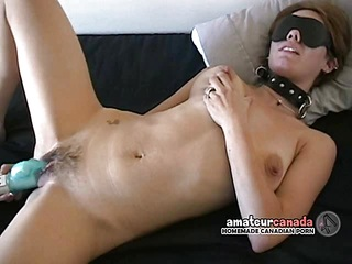Hairy busty amateur blindfolded wife wears sub collar
