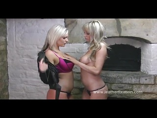 Hot blondes tease in leather and rub amazing big boobs
