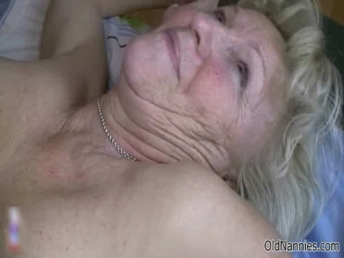 Horny old granny with huge tits loves