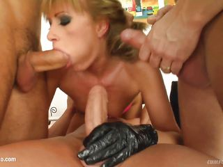 Kate in a many guy facial cumshot blowjob scene