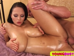 Sperm on her huge oiled natural milkers Big Tits and Brunette Videos