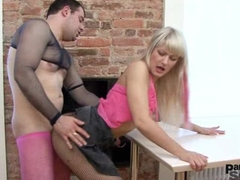 A guy takes pink nylons on and fucks blondie Anita at various pos Big Dick and Blonde Videos