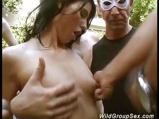 German garden groupsex fuck orgy