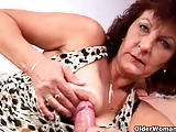 Hairy and sultry granny with big tits works hard cock