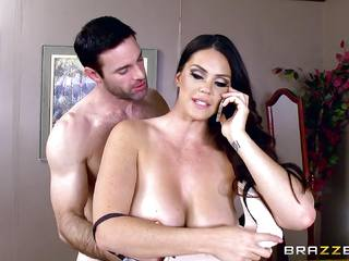Massive titted Alison Tyler fucks her lover as she speaks to her man