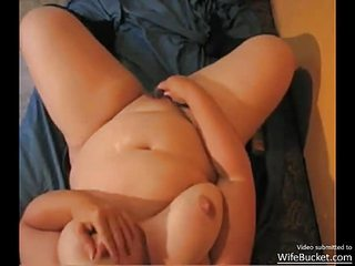 Chubby busty wifey fucking a dildo and getting all wet