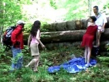 Interracial french foursome in the forest
