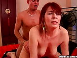 Granny with hairy pussy sucks and fucks cock