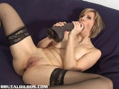 Vanessa feeds her pussy and asshole huge dildos Blonde and Masturbation Videos