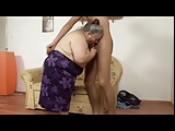 Low Fat Granny fucks with Young Tall and Slim