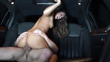 Seductive brunette Eva Lovia acting in a sperm shot porn movie in public place