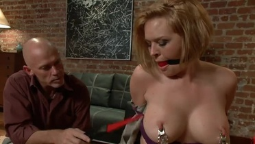 Tied redhead milf gets mouth fucked