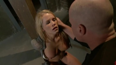 Blonde lassie gets mouthfucked and tied