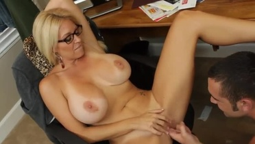 Aged female with hot knockers in hardcore adult video in office