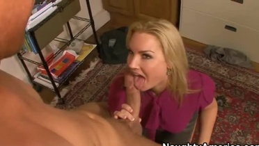 Blonde cougar fucks and gets cum on her large tits