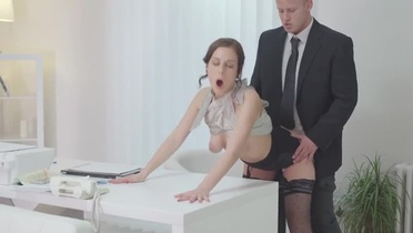 European beauty Antonia Sainz taking part in hard fuck porn video in office