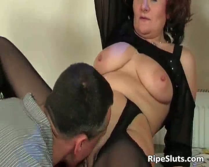 Mature redhead with big boobs gets screwed