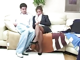 MILF In Pantyhose Gets A Cream Pie From A Young Man