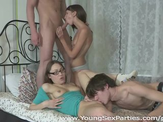Young Sex Parties - Girlfriends fucked in a four-way