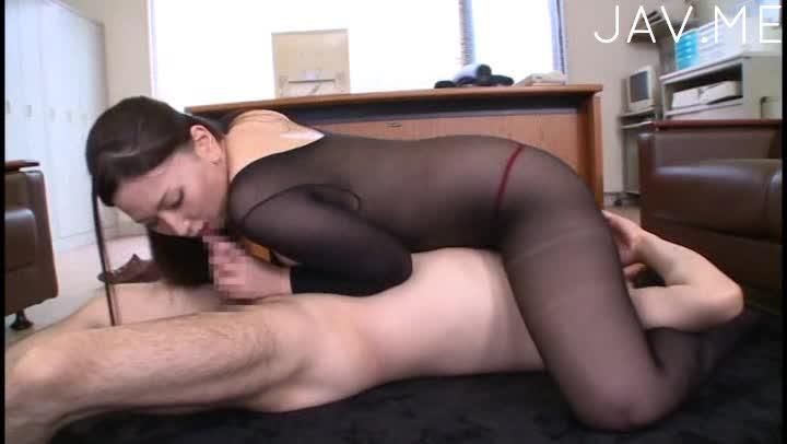 Japanese in black lingerie cock sucking